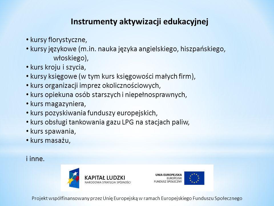 Projekt współfinansowany przez Unię Europejską w ramach Europejskiego Funduszu Społecznego Instrumenty aktywizacji edukacyjnej kursy florystyczne, kursy językowe (m.in.
