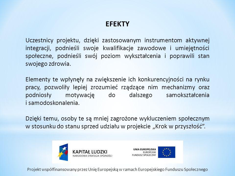 Projekt współfinansowany przez Unię Europejską w ramach Europejskiego Funduszu Społecznego EFEKTY Uczestnicy projektu, dzięki zastosowanym instrumento