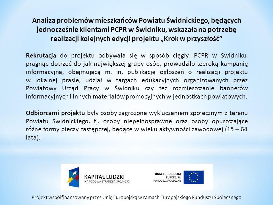 """Projekt współfinansowany przez Unię Europejską w ramach Europejskiego Funduszu Społecznego Analiza problemów mieszkańców Powiatu Świdnickiego, będących jednocześnie klientami PCPR w Świdniku, wskazała na potrzebę realizacji kolejnych edycji projektu """"Krok w przyszłość Rekrutacja do projektu odbywała się w sposób ciągły."""