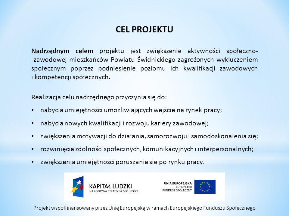 Projekt współfinansowany przez Unię Europejską w ramach Europejskiego Funduszu Społecznego CEL PROJEKTU Nadrzędnym celem projektu jest zwiększenie aktywności społeczno- -zawodowej mieszkańców Powiatu Świdnickiego zagrożonych wykluczeniem społecznym poprzez podniesienie poziomu ich kwalifikacji zawodowych i kompetencji społecznych.