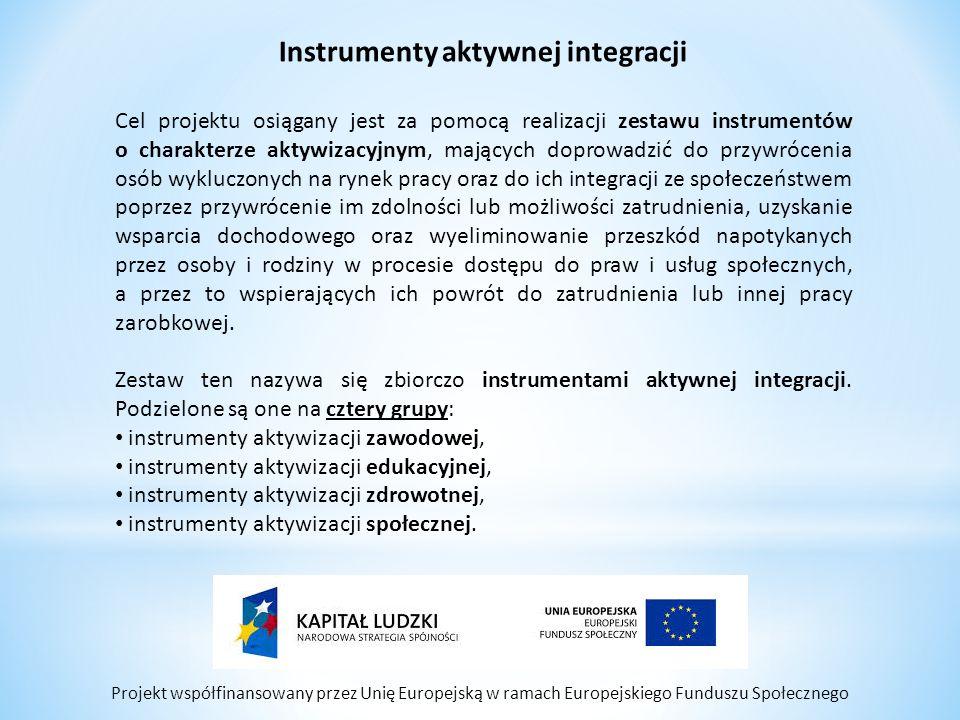 Projekt współfinansowany przez Unię Europejską w ramach Europejskiego Funduszu Społecznego Instrumenty aktywnej integracji Cel projektu osiągany jest