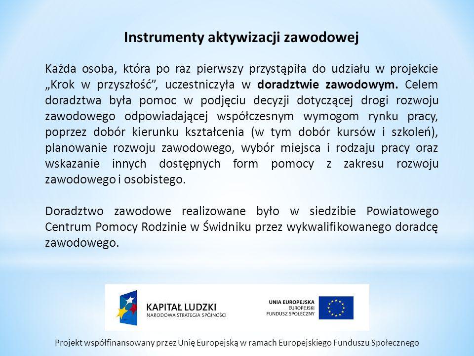 """Projekt współfinansowany przez Unię Europejską w ramach Europejskiego Funduszu Społecznego Instrumenty aktywizacji zawodowej Każda osoba, która po raz pierwszy przystąpiła do udziału w projekcie """"Krok w przyszłość , uczestniczyła w doradztwie zawodowym."""