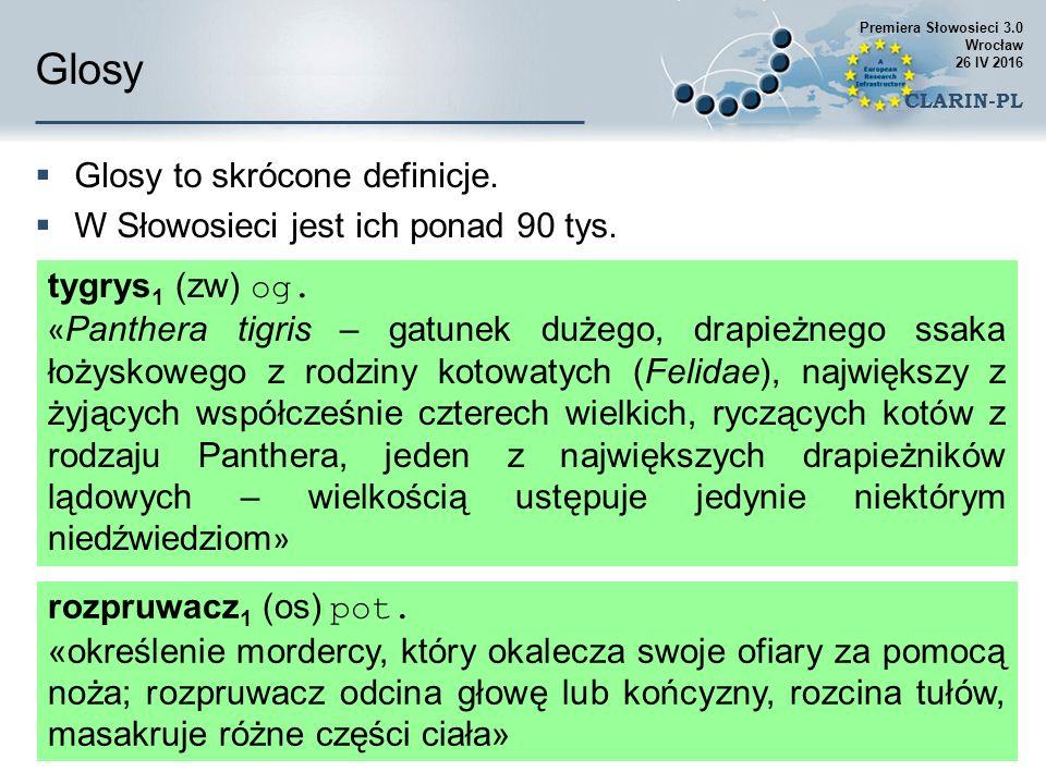 Glosy  Glosy to skrócone definicje.  W Słowosieci jest ich ponad 90 tys.