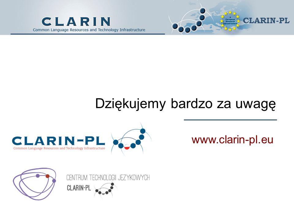Dziękujemy bardzo za uwagę www.clarin-pl.eu