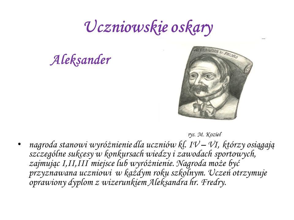 Uczniowskie oskary Aleksander rys. M. Kozieł nagroda stanowi wyróżnienie dla uczniów kl. IV – VI, którzy osiągają szczególne sukcesy w konkursach wied