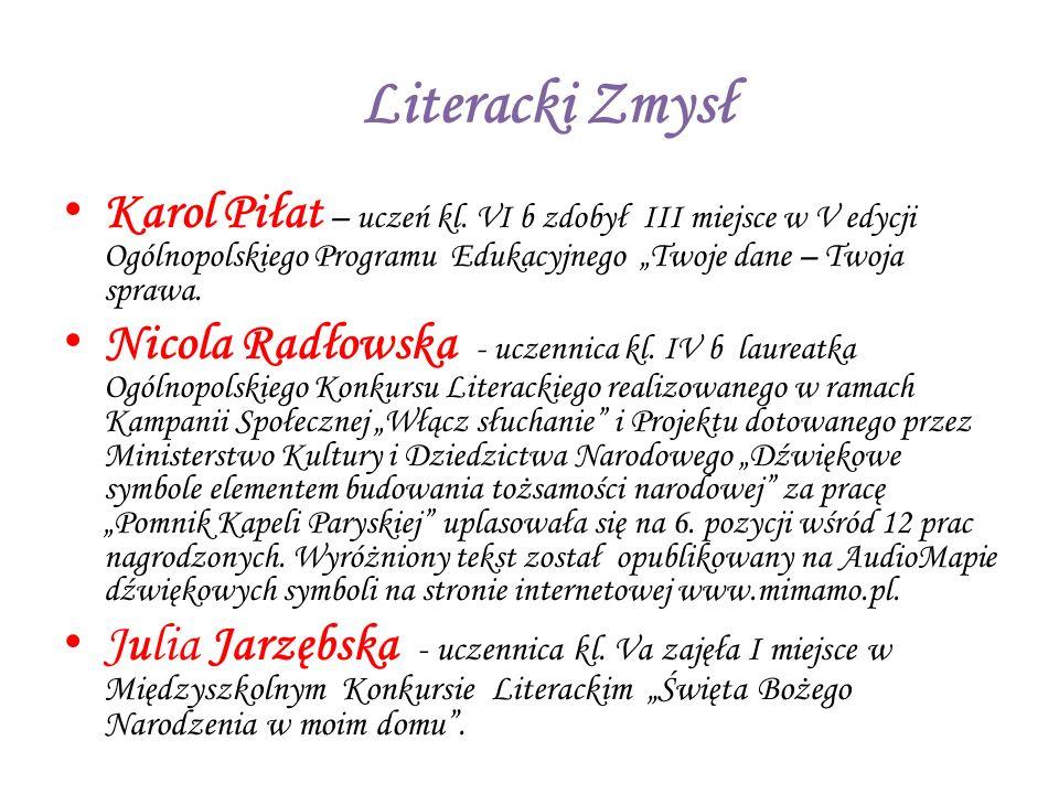 Kalina Kurleto - uczennica kl.V a zajęła II miejsce w Powiatowym Konkursie Poetyckim na wiersz pt.