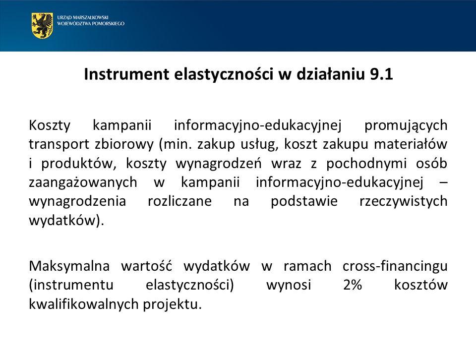 Instrument elastyczności w działaniu 9.1 Koszty kampanii informacyjno-edukacyjnej promujących transport zbiorowy (min.