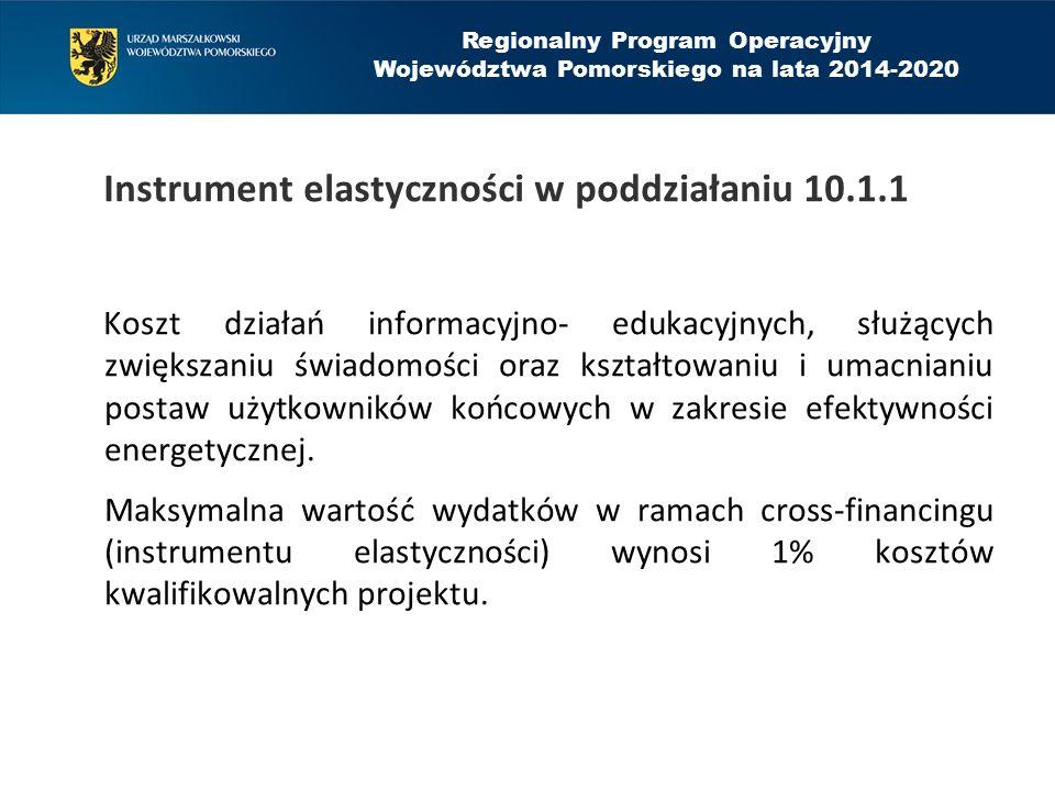 Instrument elastyczności w poddziałaniu 10.1.1 Koszt działań informacyjno- edukacyjnych, służących zwiększaniu świadomości oraz kształtowaniu i umacnianiu postaw użytkowników końcowych w zakresie efektywności energetycznej.