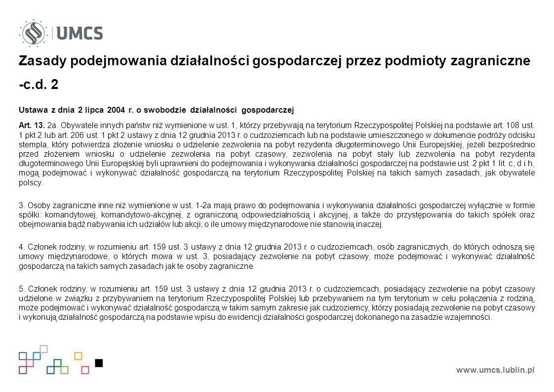 Zasady podejmowania działalności gospodarczej przez podmioty zagraniczne -c.d.