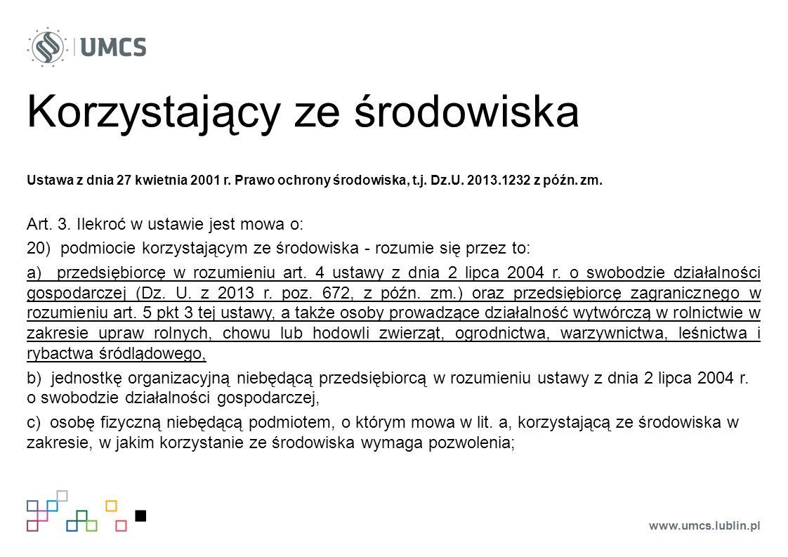 Sprzeciw Ustawa z dnia 27 kwietnia 2001 r.Prawo ochrony środowiska, t.j.