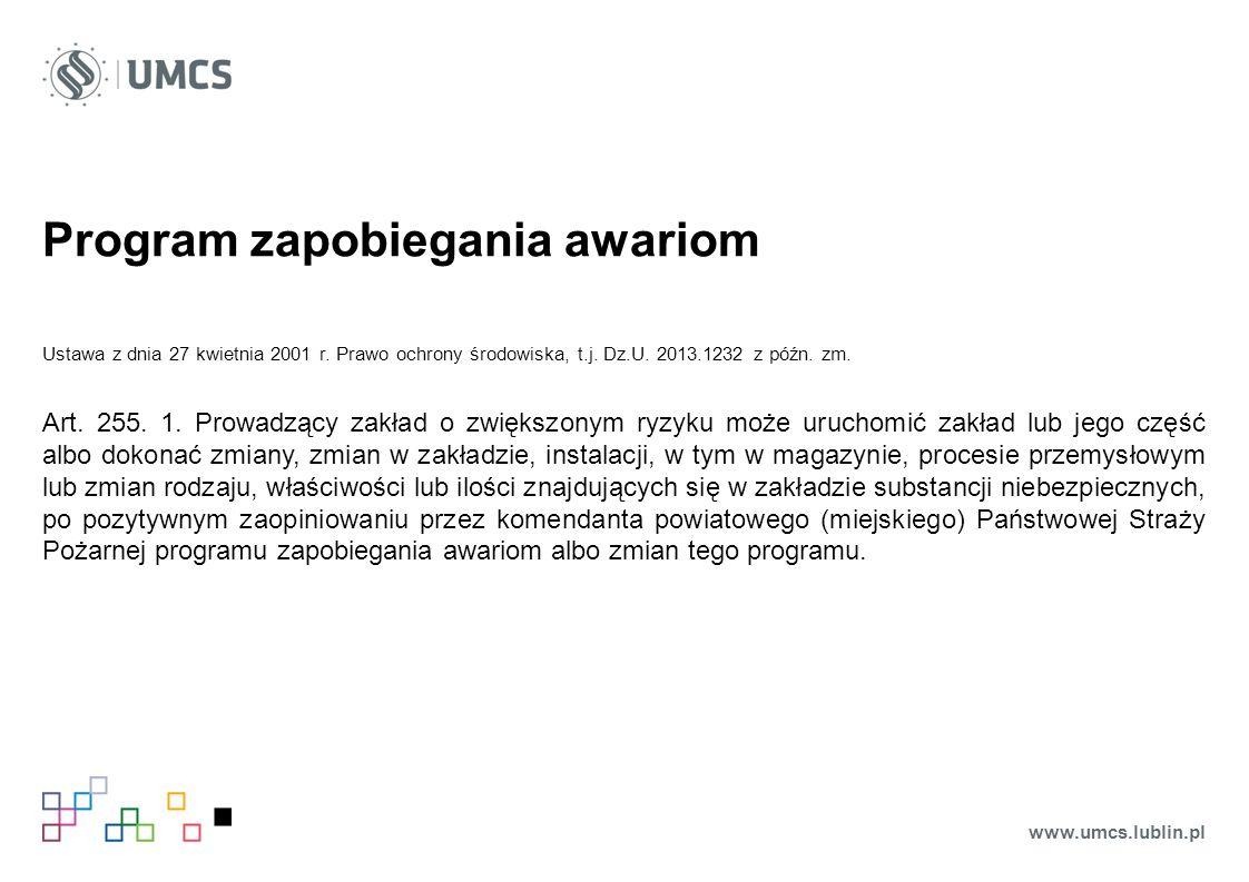 Program zapobiegania awariom Ustawa z dnia 27 kwietnia 2001 r.