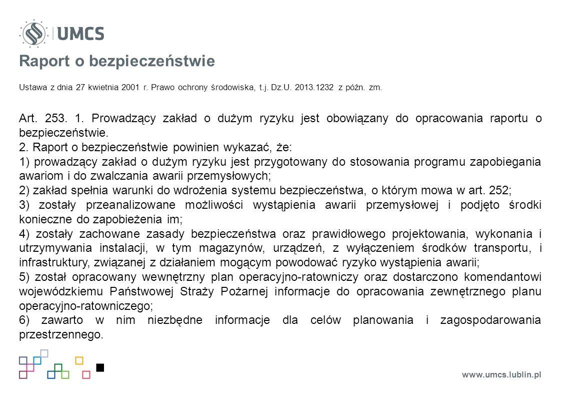 Raport o bezpieczeństwie Ustawa z dnia 27 kwietnia 2001 r.