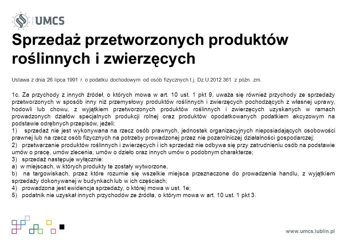 Sprzedaż przetworzonych produktów roślinnych i zwierzęcych Ustawa z dnia 26 lipca 1991 r.