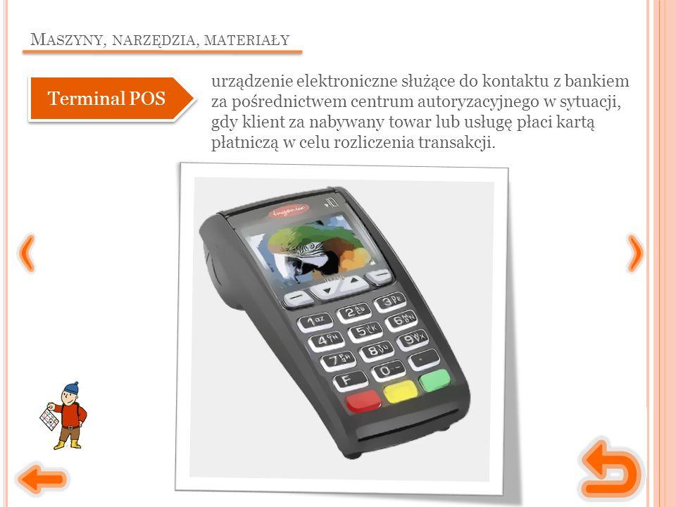 M ASZYNY, NARZĘDZIA, MATERIAŁY urządzenie elektroniczne służące do kontaktu z bankiem za pośrednictwem centrum autoryzacyjnego w sytuacji, gdy klient