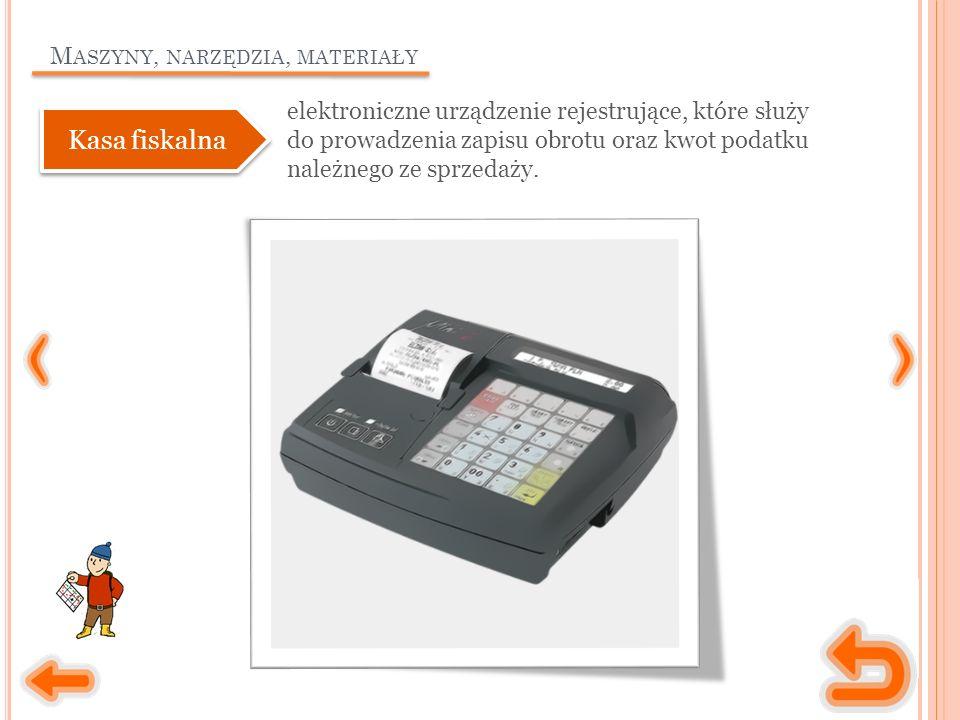 M ASZYNY, NARZĘDZIA, MATERIAŁY elektroniczne urządzenie rejestrujące, które służy do prowadzenia zapisu obrotu oraz kwot podatku należnego ze sprzedaż