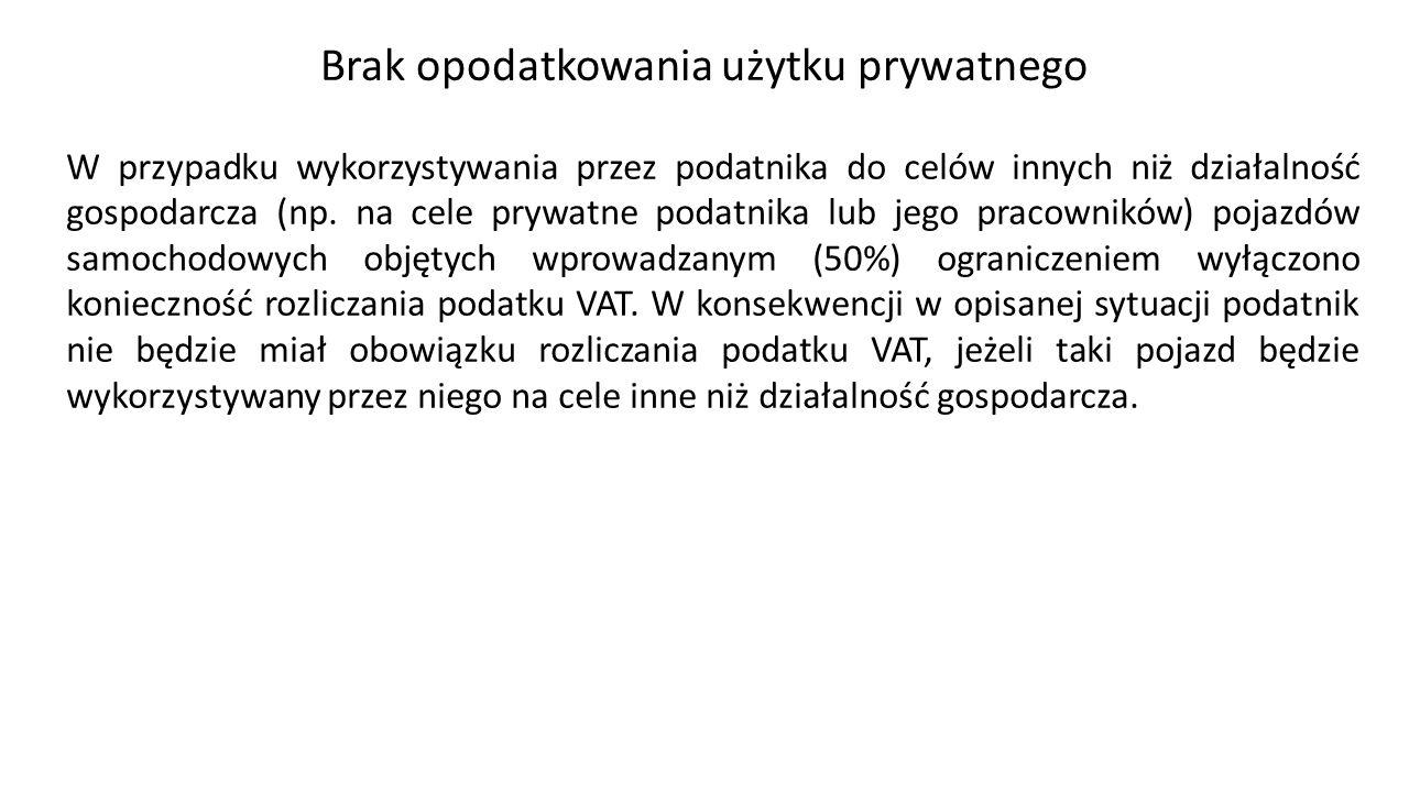 Brak opodatkowania użytku prywatnego W przypadku wykorzystywania przez podatnika do celów innych niż działalność gospodarcza (np.