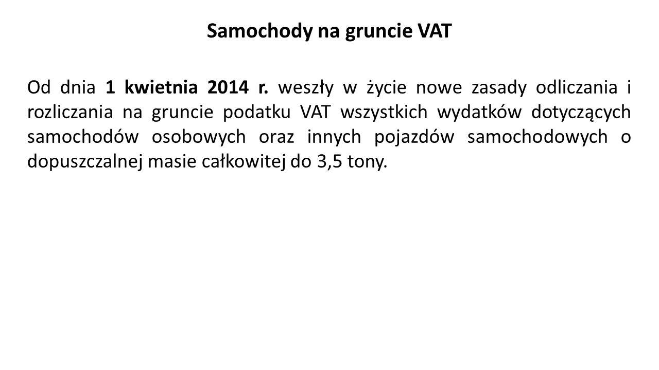 Samochody na gruncie VAT Od dnia 1 kwietnia 2014 r.