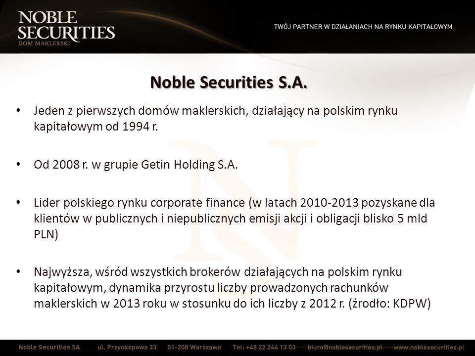 Noble Securities S.A.Na rynku praw majątkowych do świadectw pochodzenia energii od 2005 r.