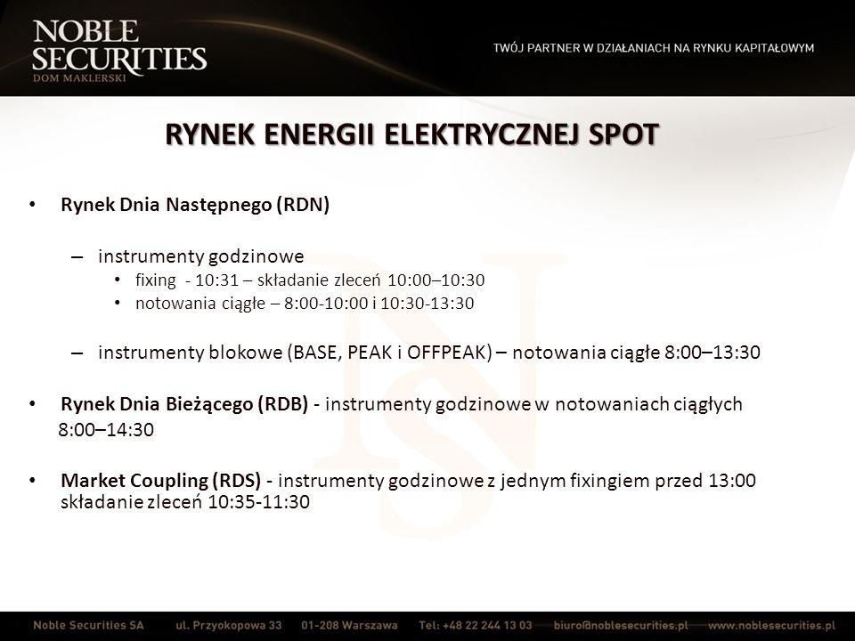 RYNEK ENERGII ELEKTRYCZNEJ SPOT Rynek Dnia Następnego (RDN) – instrumenty godzinowe fixing - 10:31 – składanie zleceń 10:00–10:30 notowania ciągłe – 8:00-10:00 i 10:30-13:30 – instrumenty blokowe (BASE, PEAK i OFFPEAK) – notowania ciągłe 8:00–13:30 Rynek Dnia Bieżącego (RDB) - instrumenty godzinowe w notowaniach ciągłych 8:00–14:30 Market Coupling (RDS) - instrumenty godzinowe z jednym fixingiem przed 13:00 składanie zleceń 10:35-11:30