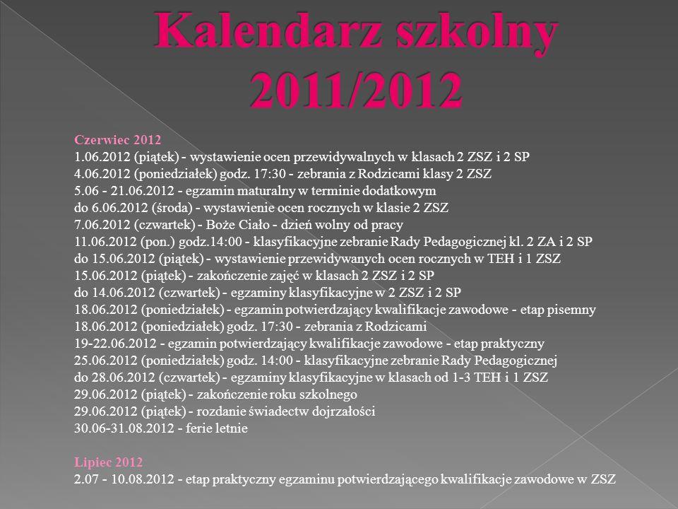 Czerwiec 2012 1.06.2012 (piątek) - wystawienie ocen przewidywalnych w klasach 2 ZSZ i 2 SP 4.06.2012 (poniedziałek) godz.