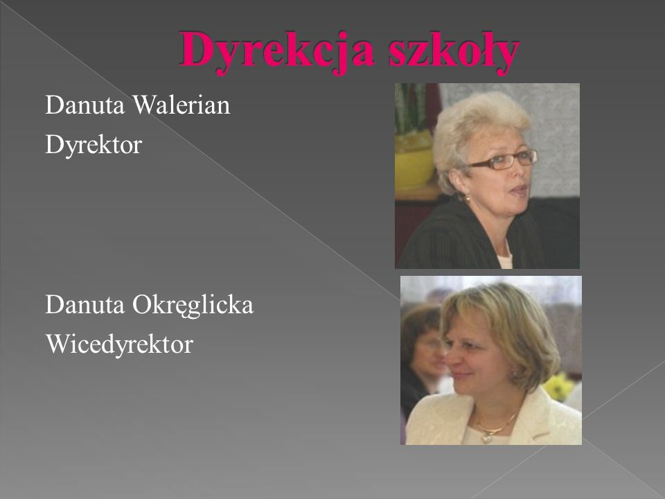 Danuta Walerian Dyrektor Danuta Okręglicka Wicedyrektor