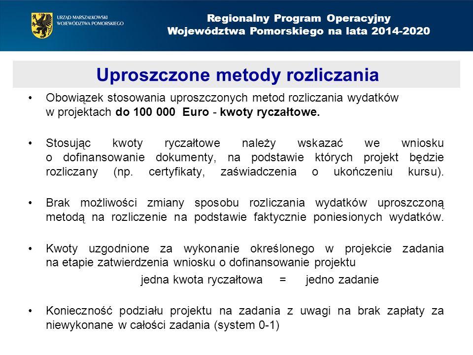 Obowiązek stosowania uproszczonych metod rozliczania wydatków w projektach do 100 000 Euro - kwoty ryczałtowe.
