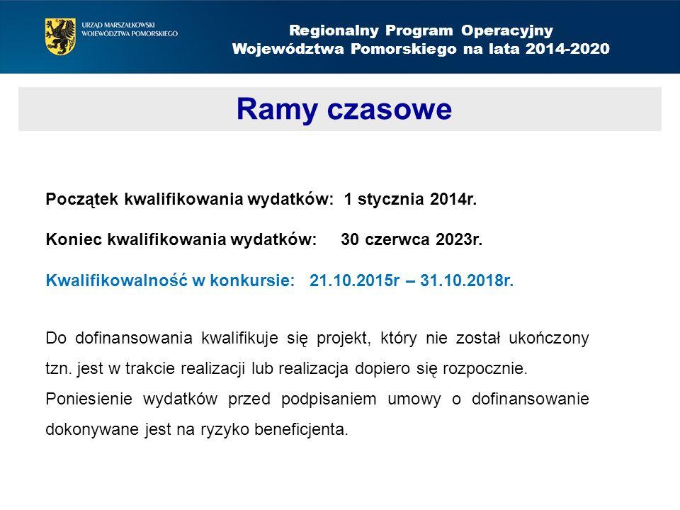 Regionalny Program Operacyjny Województwa Pomorskiego na lata 2014-2020 Ramy czasowe Aktywizacja społeczno-zawodowa – nabór do 14 września 2015 Początek kwalifikowania wydatków: 1 stycznia 2014r.
