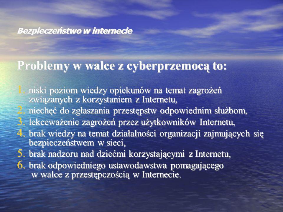 Bezpieczeństwo w internecie Problemy w walce z cyberprzemocą to: 1. niski poziom wiedzy opiekunów na temat zagrożeń związanych z korzystaniem z Intern