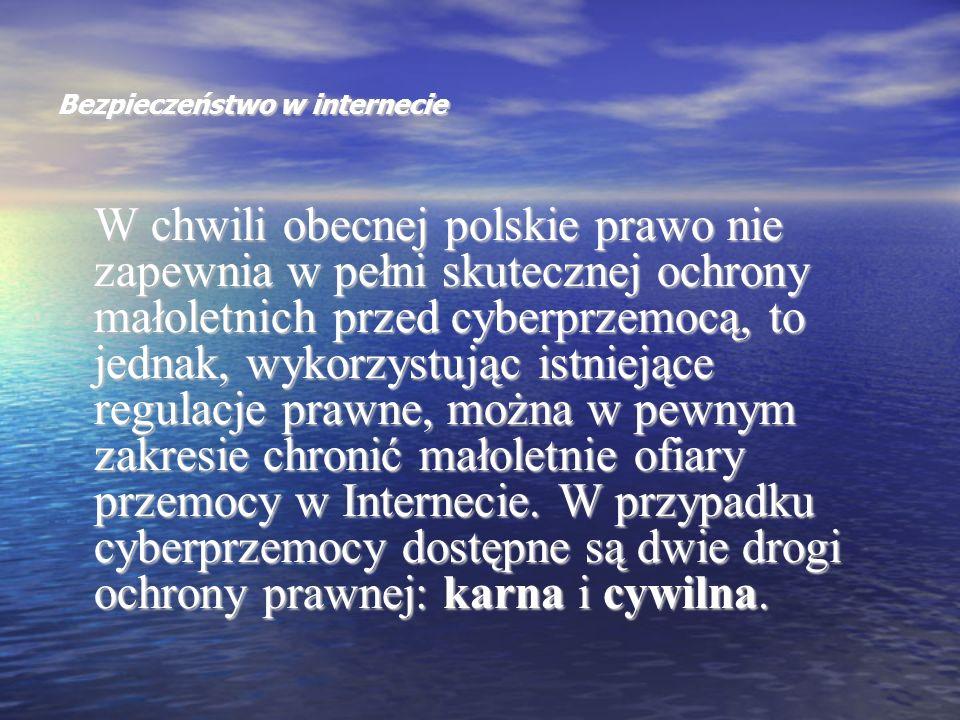 Bezpieczeństwo w internecie W chwili obecnej polskie prawo nie zapewnia w pełni skutecznej ochrony małoletnich przed cyberprzemocą, to jednak, wykorzy