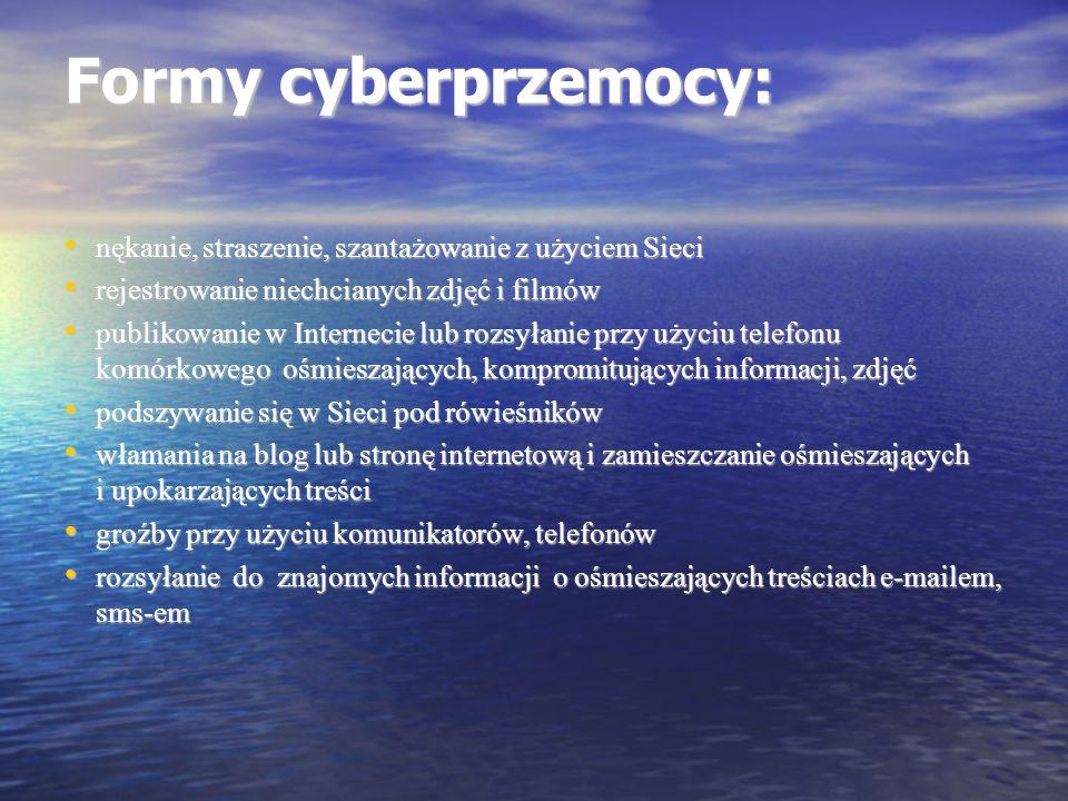 Formy cyberprzemocy: nękanie, straszenie, szantażowanie z użyciem Sieci nękanie, straszenie, szantażowanie z użyciem Sieci rejestrowanie niechcianych