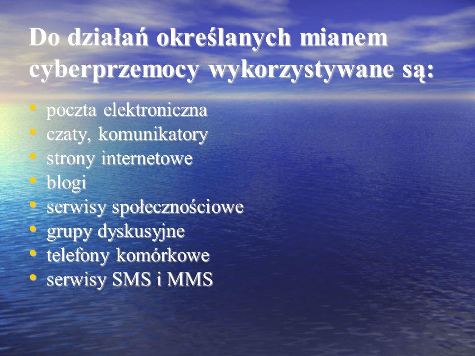 Do działań określanych mianem cyberprzemocy wykorzystywane są: poczta elektroniczna poczta elektroniczna czaty, komunikatory czaty, komunikatory stron