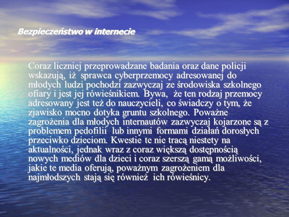 Bezpieczeństwo w internecie Cyberprzemoc często powoduje u ofiar irytację, strach, lęk i zawstydzenie.