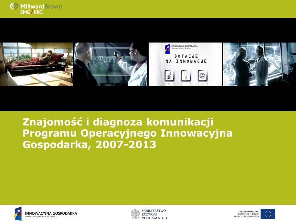 Znajomość i diagnoza komunikacji Programu Operacyjnego Innowacyjna Gospodarka, 2007-2013