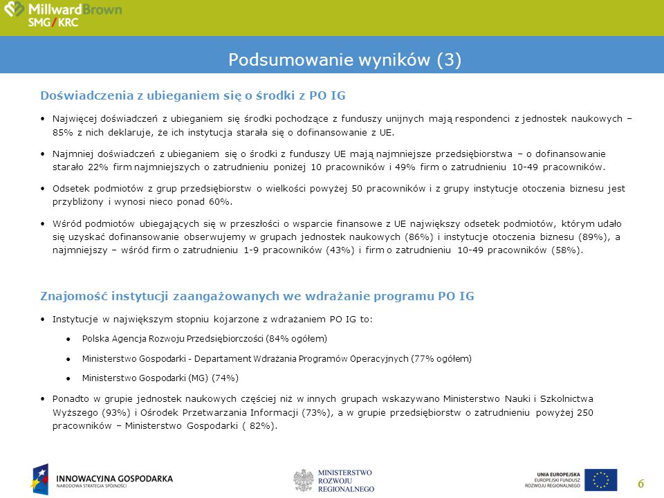 6 Podsumowanie wyników (3) Doświadczenia z ubieganiem się o środki z PO IG Najwięcej doświadczeń z ubieganiem się środki pochodzące z funduszy unijnyc