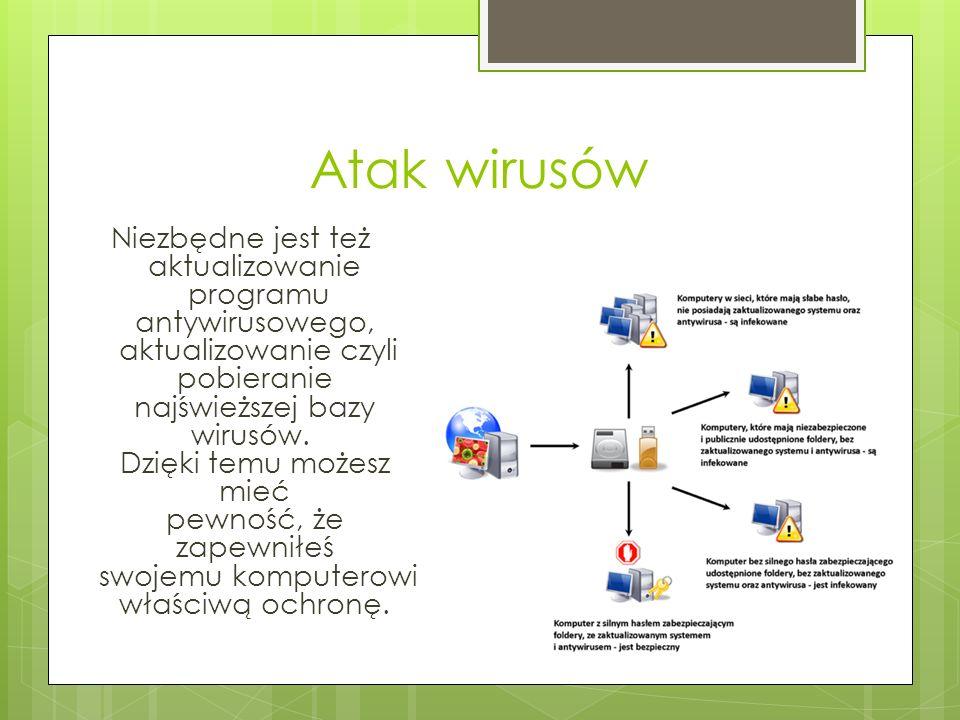 Atak wirusów Niezbędne jest też aktualizowanie programu antywirusowego, aktualizowanie czyli pobieranie najświeższej bazy wirusów.