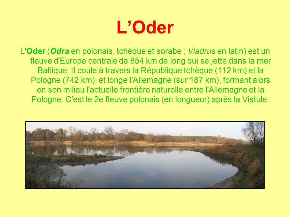 L'Oder L Oder (Odra en polonais, tchèque et sorabe ; Viadrus en latin) est un fleuve d Europe centrale de 854 km de long qui se jette dans la mer Baltique.