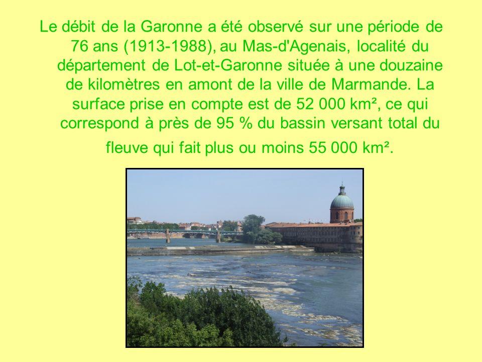 Le débit de la Garonne a été observé sur une période de 76 ans (1913-1988), au Mas-d Agenais, localité du département de Lot-et-Garonne située à une douzaine de kilomètres en amont de la ville de Marmande.