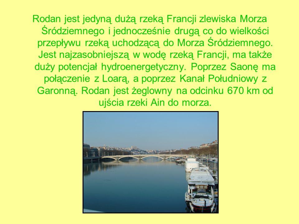 Rodan jest jedyną dużą rzeką Francji zlewiska Morza Śródziemnego i jednocześnie drugą co do wielkości przepływu rzeką uchodzącą do Morza Śródziemnego.