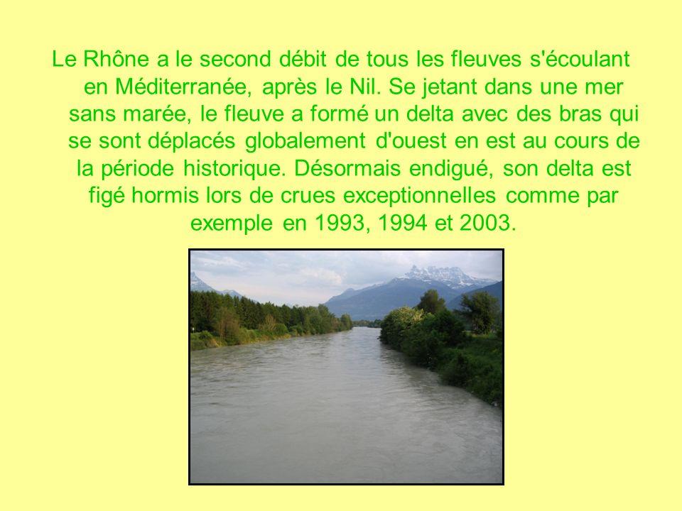 Le Rhône a le second débit de tous les fleuves s écoulant en Méditerranée, après le Nil.