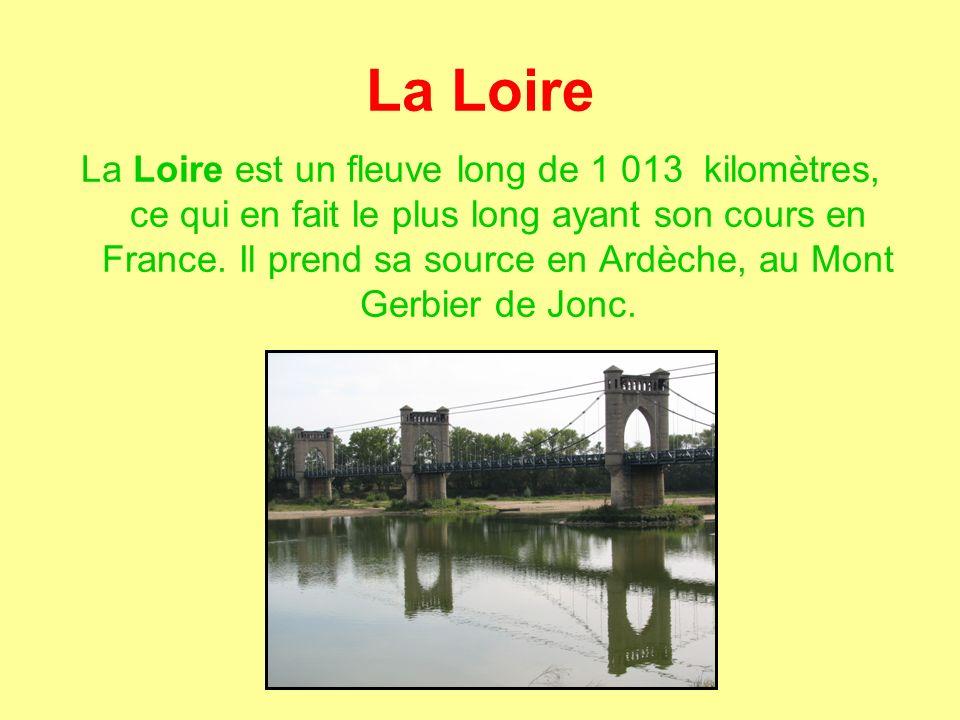 La Loire La Loire est un fleuve long de 1 013 kilomètres, ce qui en fait le plus long ayant son cours en France.
