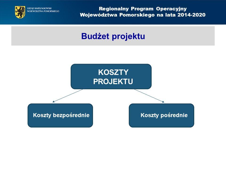 KOSZTY PROJEKTU Budżet projektu Koszty bezpośrednieKoszty pośrednie Regionalny Program Operacyjny Województwa Pomorskiego na lata 2014-2020