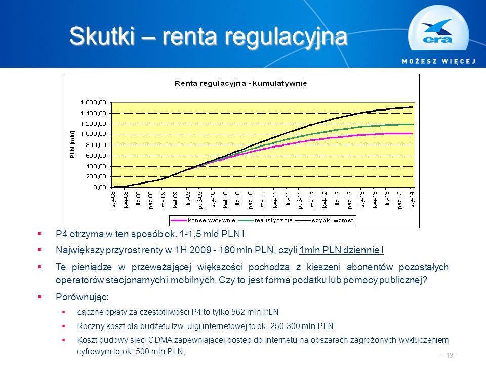 Skutki – renta regulacyjna  P4 otrzyma w ten sposób ok. 1-1,5 mld PLN !  Największy przyrost renty w 1H 2009 - 180 mln PLN, czyli 1mln PLN dziennie