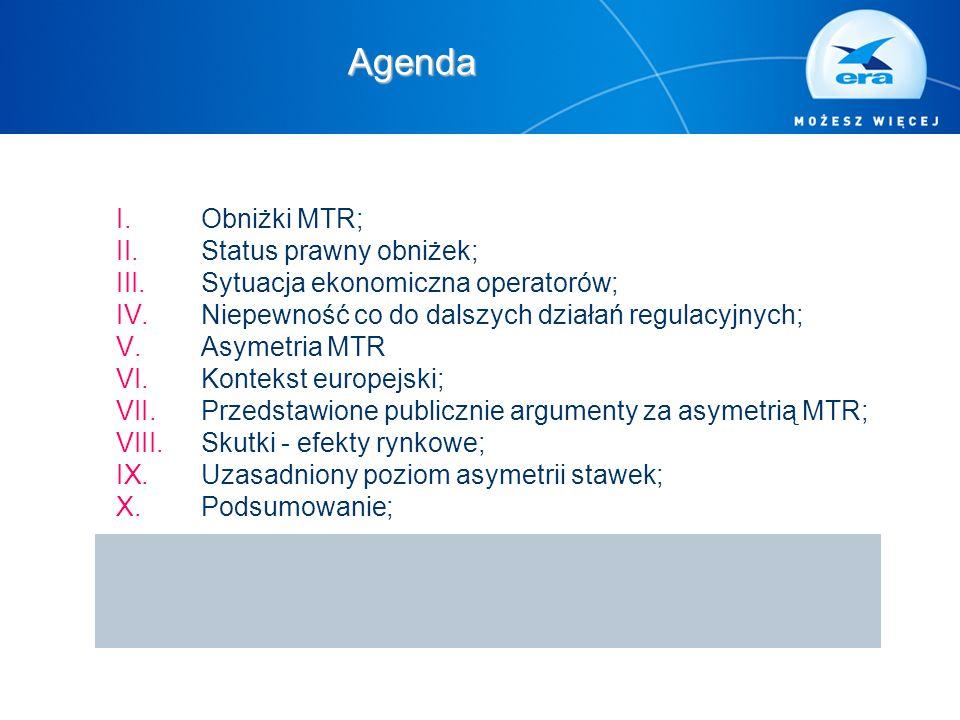 I.Obniżki MTR; II.Status prawny obniżek; III.Sytuacja ekonomiczna operatorów; IV.Niepewność co do dalszych działań regulacyjnych; V.Asymetria MTR VI.K
