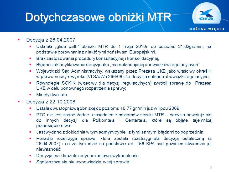 """Dotychczasowe obniżki MTR  Decyzja z 26.04.2007  Ustalała """"glide path"""" obniżki MTR do 1 maja 2010r. do poziomu 21,62gr./min, na podstawie porównania"""