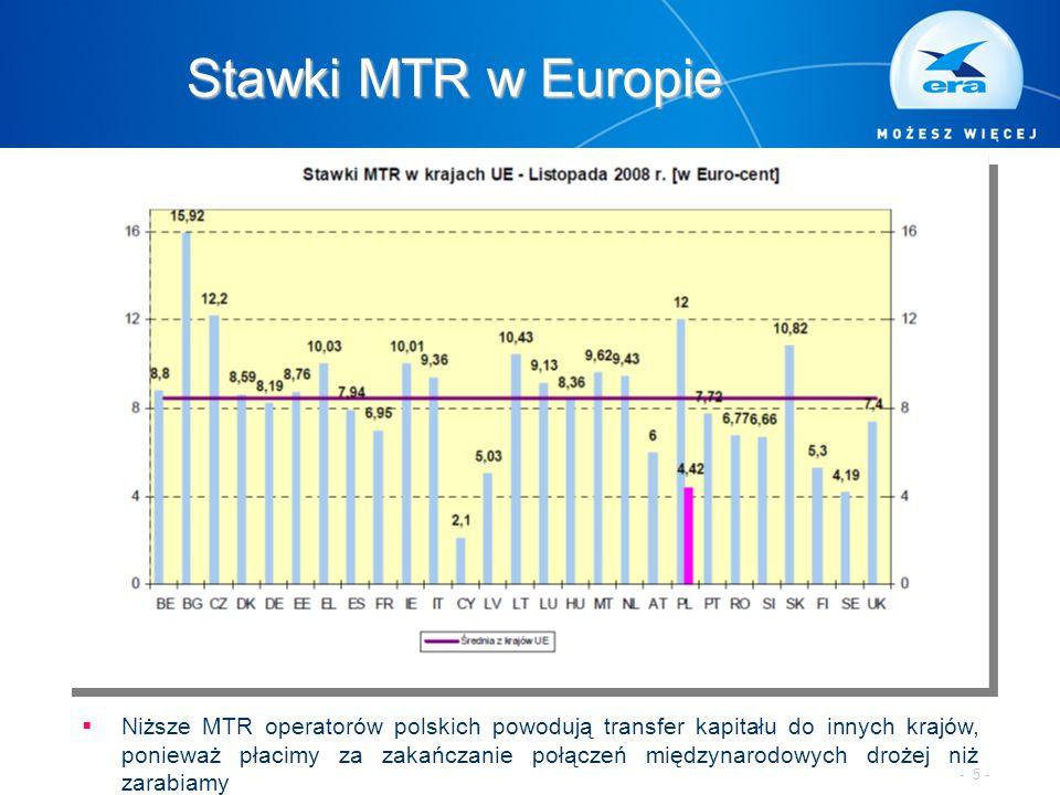 Stawki MTR w Europie  Niższe MTR operatorów polskich powodują transfer kapitału do innych krajów, ponieważ płacimy za zakańczanie połączeń międzynarodowych drożej niż zarabiamy - 5 -