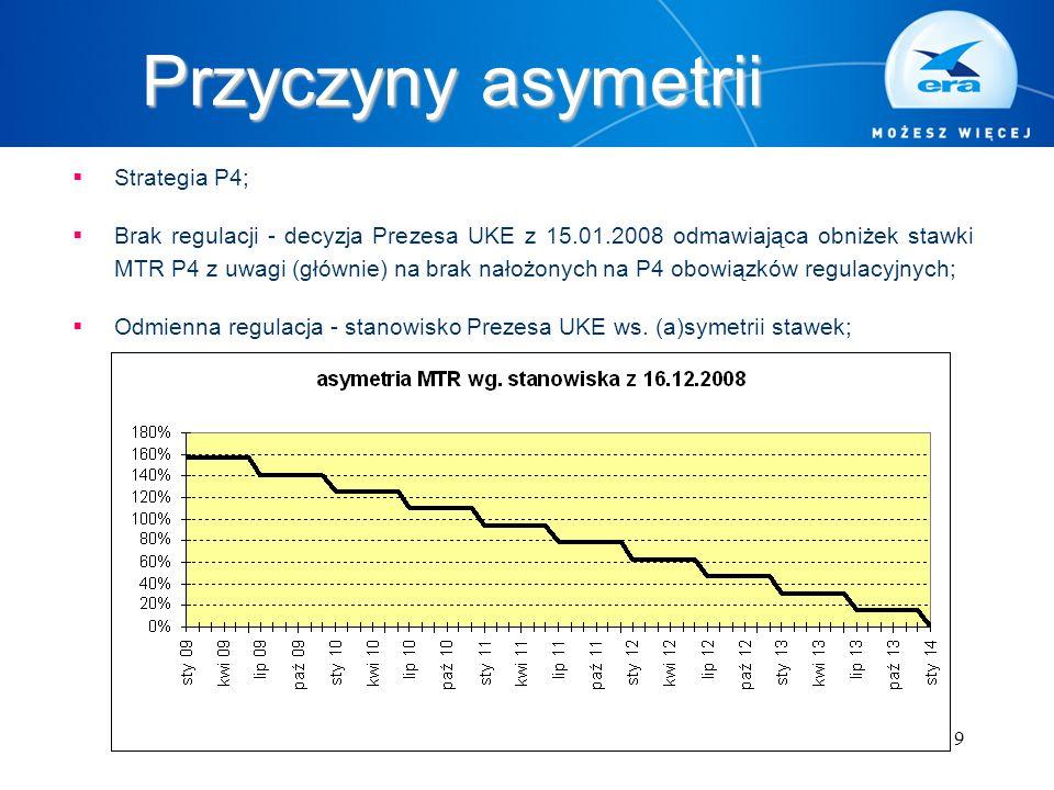 9 Przyczyny asymetrii  Strategia P4;  Brak regulacji - decyzja Prezesa UKE z 15.01.2008 odmawiająca obniżek stawki MTR P4 z uwagi (głównie) na brak nałożonych na P4 obowiązków regulacyjnych;  Odmienna regulacja - stanowisko Prezesa UKE ws.