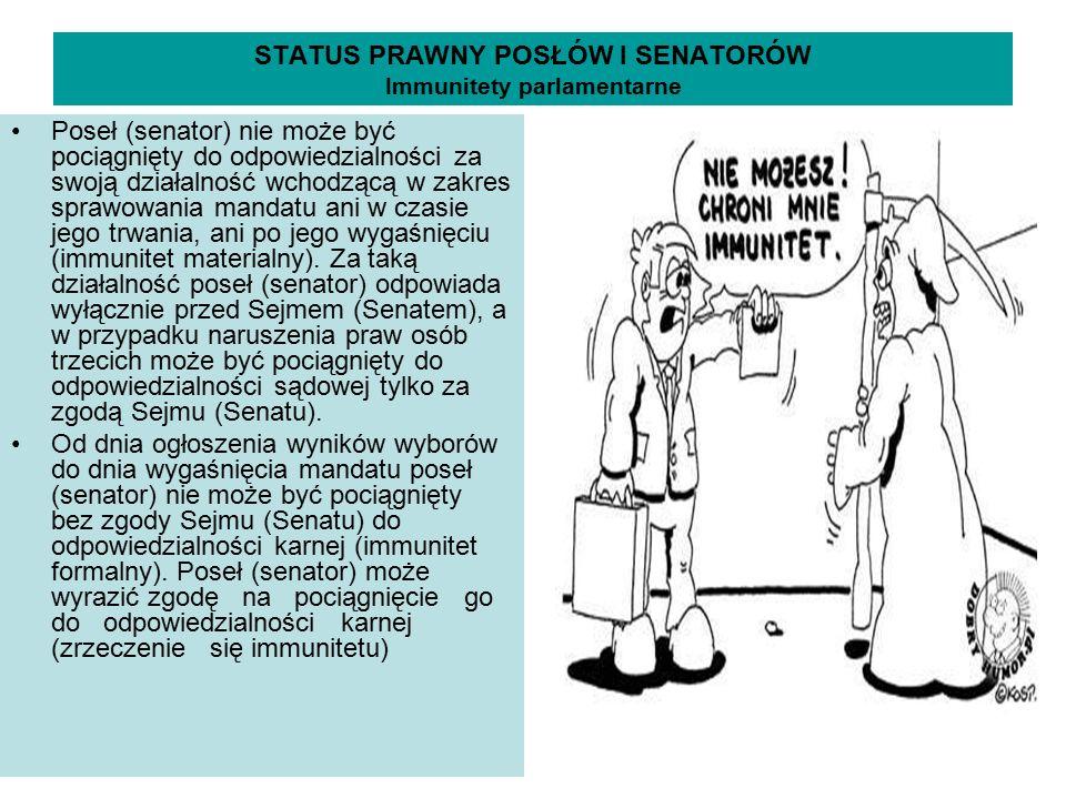 STATUS PRAWNY POSŁÓW I SENATORÓW Immunitety parlamentarne Poseł (senator) nie może być pociągnięty do odpowiedzialności za swoją działalność wchodzącą