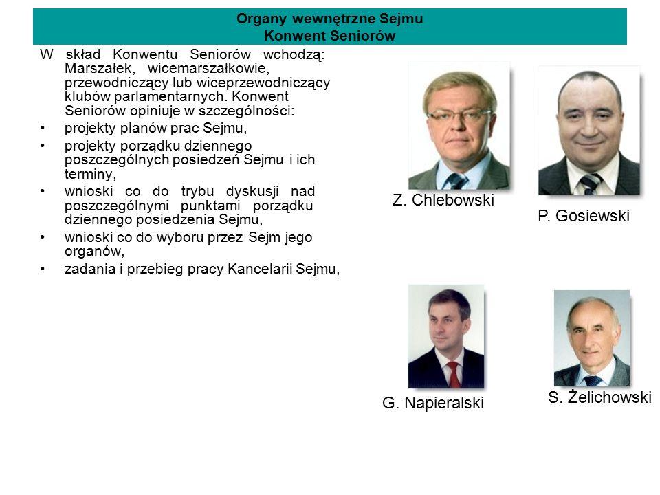 Organy wewnętrzne Sejmu Konwent Seniorów W skład Konwentu Seniorów wchodzą: Marszałek, wicemarszałkowie, przewodniczący lub wiceprzewodniczący klubów