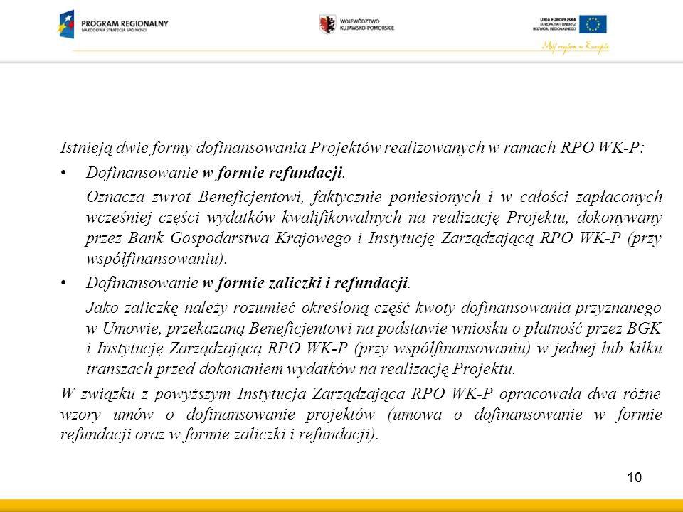 Istnieją dwie formy dofinansowania Projektów realizowanych w ramach RPO WK-P: Dofinansowanie w formie refundacji.