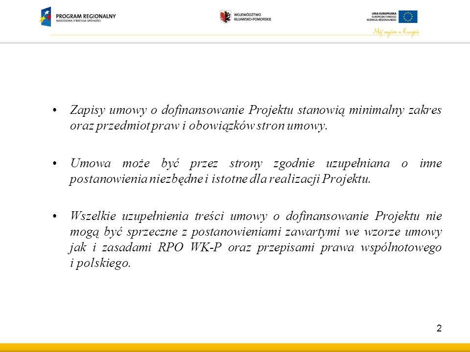 Zapisy umowy o dofinansowanie Projektu stanowią minimalny zakres oraz przedmiot praw i obowiązków stron umowy.